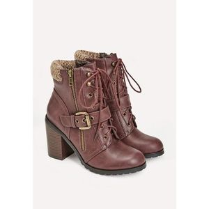 NEW!! JustFab Burgundy Bootie With Buckle!! Size 9
